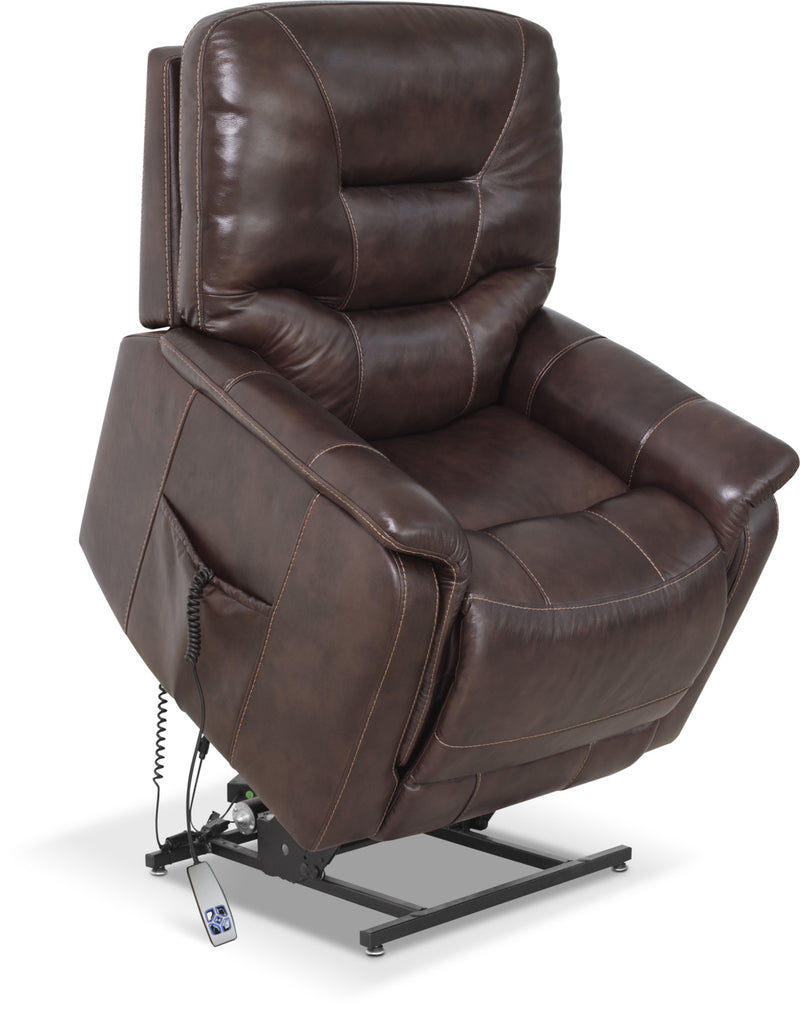 Parker Genuine Leather Power Lifting Recliner – Brown|Fauteuil basculeur à inclinaison électrique Parker en cuir véritable - brun