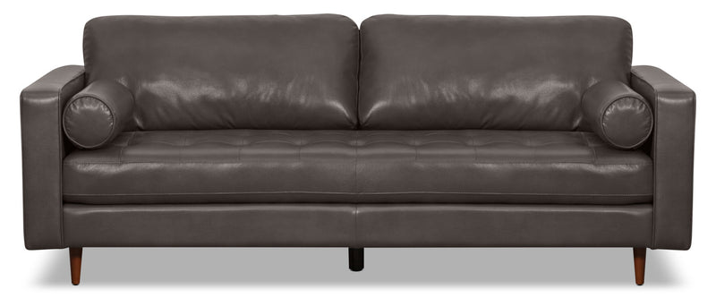 Zuri Leather-Look Fabric Sofa – Grey|Sofa Zuri en tissu d'apparence cuir - gris