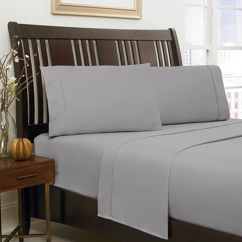 500 Thread Count Queen Sheet Set – Grey|Ensemble de draps à contexture de 500 fils pour grand lit - gris
