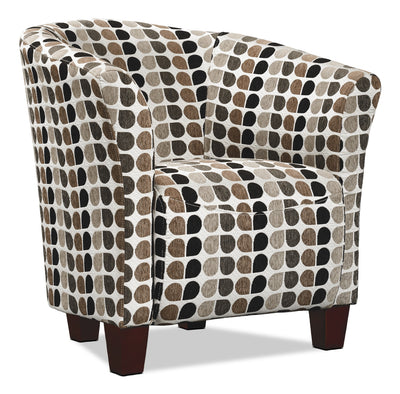 Tub-Style Fabric Accent Chair - Steel - Modern style Accent Chair in Patterned
