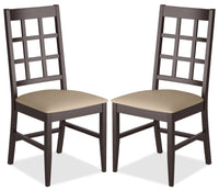 Atwood Dining Chair with Faux Leather Seat, Set of 2 – Grey|Chaise de salle à manger Atwood avec siège en similicuir, ensemble de 2 - gris