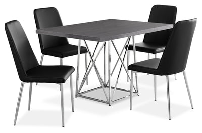 Marco 5-Piece Dining Package – Black - Modern style Dining Room Set in Black Particleboard and Metal