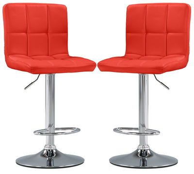 CorLiving High-Back Adjustable Bar Stool, Set of 2 – Red - Modern style Bar Stool in Red Steel and Faux Leather