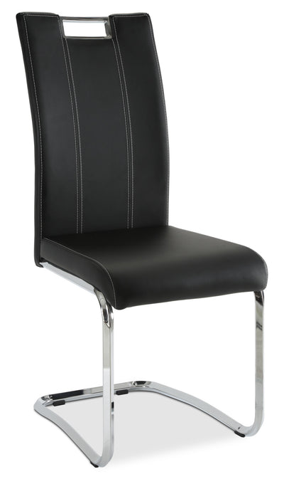 Tuxedo Dining Chair – Black - Modern style Dining Chair in Black Steel and Faux Leather