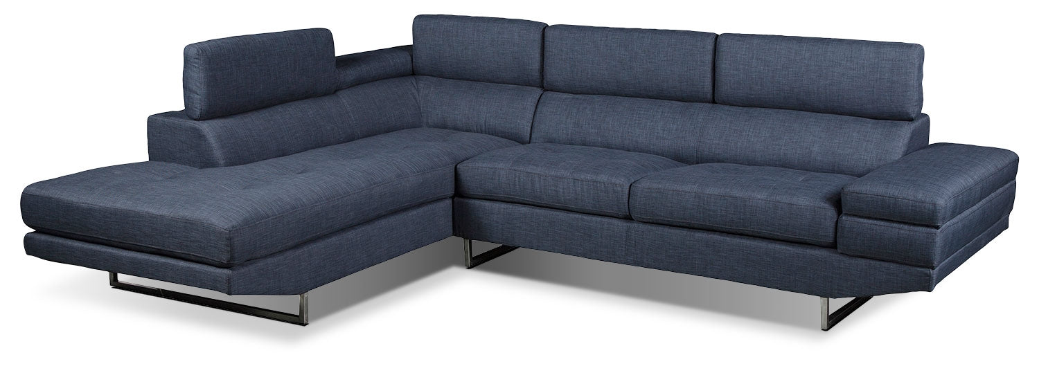 Zeke 2 piece linen look fabric left facing sectional denimsofa sectionnel de gauche zeke en tissu apparence lin denim