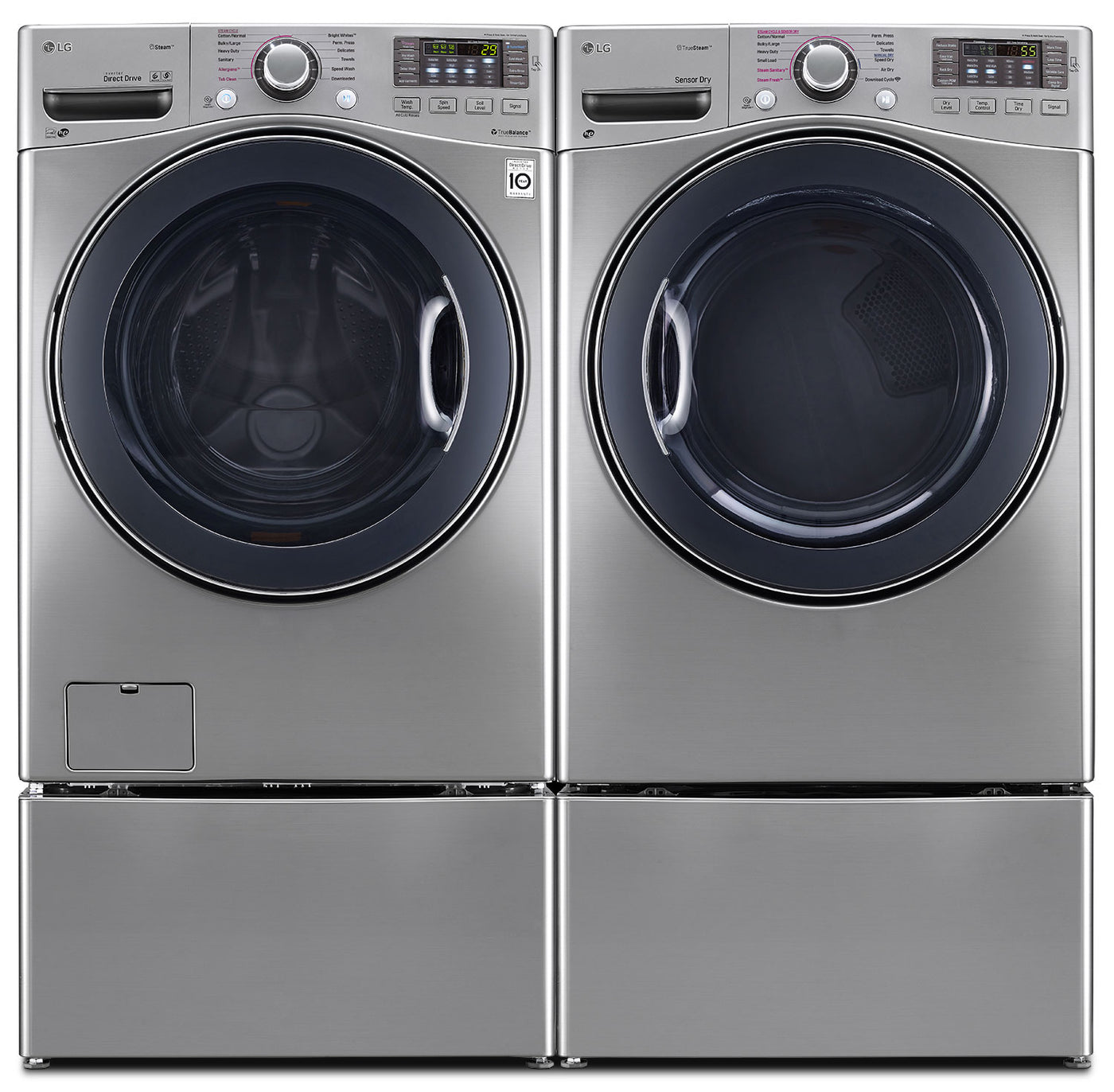 LG 5 2 Cu  Ft  Front-Load Washer and 7 4 Cu  Ft  Electric Steam Dryer –  Graphite Steel