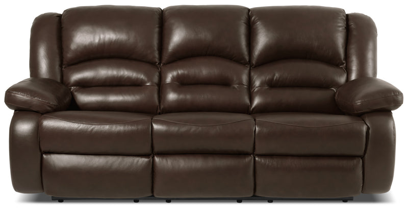 Toreno Genuine Leather Power Reclining Sofa – Brown|Sofa à inclinaison électrique Toreno en cuir véritable - brun