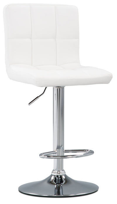 CorLiving High Back Adjustable Bar Stool - White - Modern style Bar Stool in White