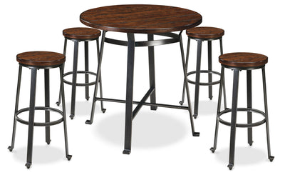 Challiman 5-Piece Pub Dining Package - Industrial style Dining Room Set in Pewter Pine Solids and Metal