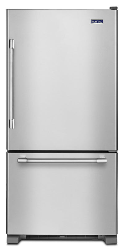 Maytag 19 Cu. Ft. Bottom-Mount Refrigerator – MBR1957FEZ - Refrigerator in Stainless Steel
