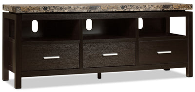 "Verona 60"" TV Stand - Contemporary style TV Stand in Espresso Wood/Stone"