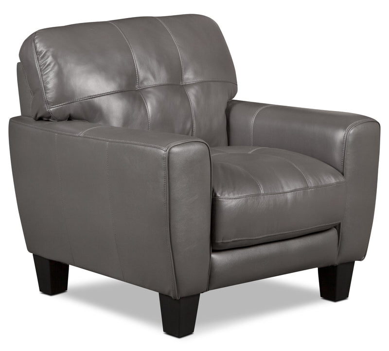 Abby Genuine Leather Chair – Grey|Fauteuil Abby en cuir véritable – gris