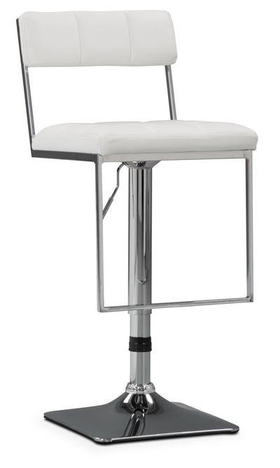 CorLiving Square-Tufted Wide Adjustable Bar Stool – White - Modern style Bar Stool in White Metal and Faux Leather
