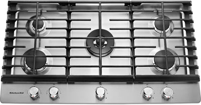 "KitchenAid 36"" 5- Burner Gas Cooktop - KCGS556ESS