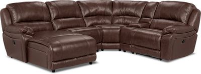 Marco Genuine Leather 5-Piece Sectional with Left-Facing Inclining Chaise – Chocolate