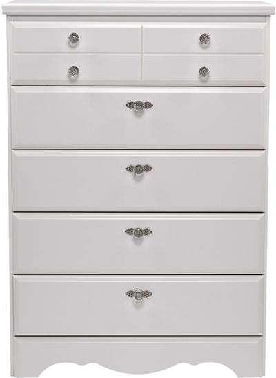 Diamond Dreams 5-Drawer Chest - Traditional style Chest in White