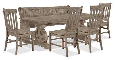 Keswick 6-Piece Dining Package – Dovetail Grey - Rustic style Dining Room Set in Grey Pine