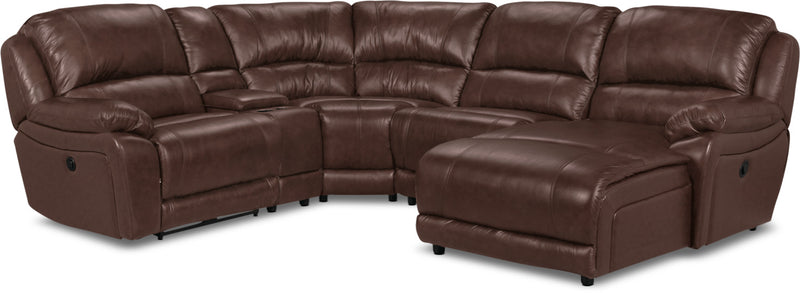 Marco Genuine Leather 5-Piece Sectional with Right-Facing Inclining Chaise – Chocolate|Sofa sectionnel Marco 5 pièces en cuir véritable avec fauteuil long inclinable de droite - chocolat