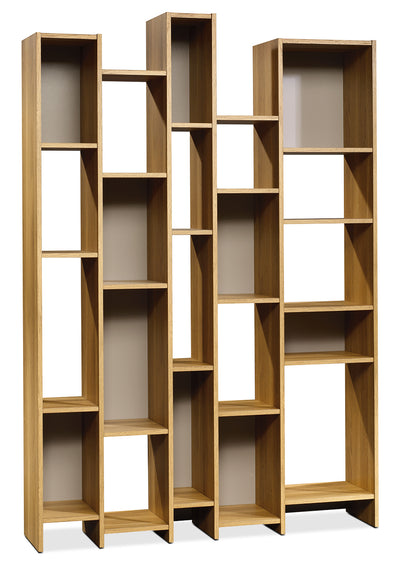 Soft Modern Wall Shelf - Retro style Bookcase in Light Brown Wood