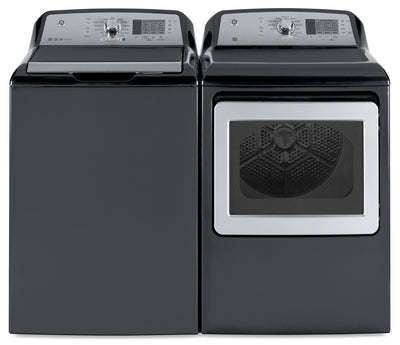 GE 5.3 Cu. Ft. Top-Load Washer and 7.4 Cu. Ft. Electric Dryer - Laundry Set in Grey