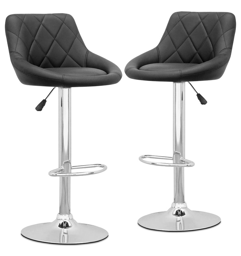 Adjustable Diamond-Back Bar Stool, Set of 2 – Black|Tabouret bar réglable avec dossier en forme de diamant, ensemble de 2 - noir