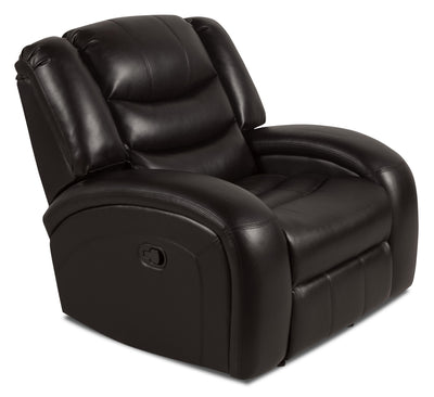 Angus Leather-Look Fabric Glider Recliner - Dark Brown - Contemporary style Chair in Dark Brown