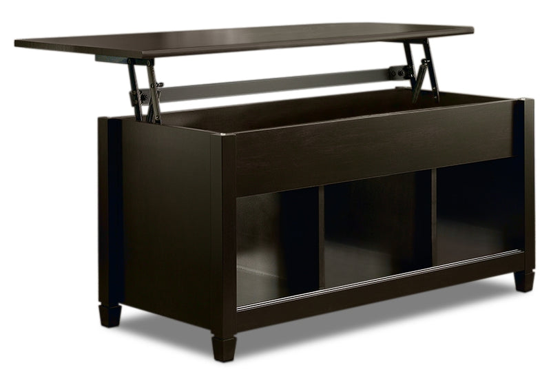 Edge Water Coffee Table with Lift Top – Estate Black - Contemporary style Coffee Table in Black Wood