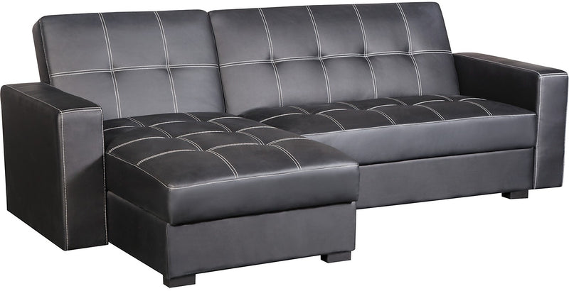Belize 2-Piece Storage Futon with Chaise - Black|Sofa-lit de rangement Belize avec fauteuil long - noir