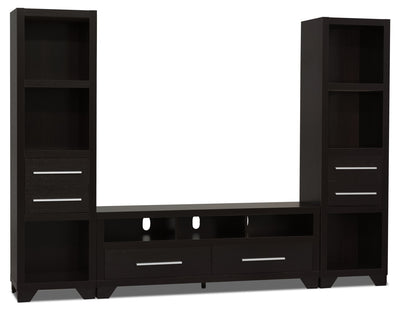 "Glendale 3-Piece Entertainment Centre with 60"" TV Opening – Espresso - Modern style Wall Unit in Espresso"