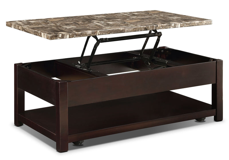Sicily Coffee Table with Lift-Top and Casters – Brown|Table à café Sicily avec dessus relevable et roulettes – brun