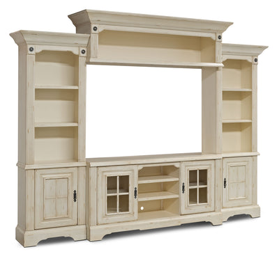 "Highland 4-Piece Entertainment Centre with 66"" TV Opening - Country style Wall Unit in Antique White"
