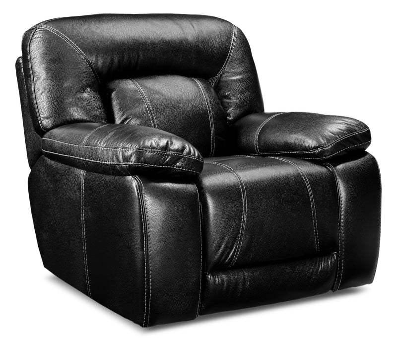 Kimba Leather-Look Fabric Reclining Chair – Black|Fauteuil inclinable Kimba en tissu d'apparence cuir - noir