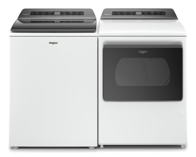 Whirlpool 5.4 Cu. Ft. Top-Load Washer and 7.4 Cu. Ft. Gas Dryer – White|Laveuse à chargement par le haut de 5,4 pi³ et sécheuse à gaz de 7,4 pi³ de Whirlpool - blanches|WHTL510G