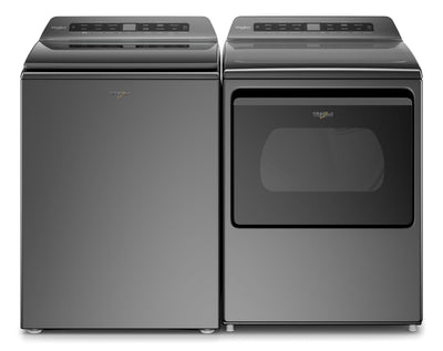 Whirlpool 5.5 Cu. Ft. Smart Top-Load Washer and 7.4 Cu. Ft. Smart Gas Dryer - Chrome Shadow