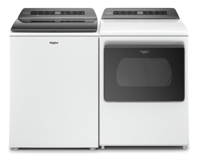 Whirlpool 5.5 Cu. Ft. Smart Top-Load Washer and 7.4 Cu. Ft. Smart Gas Dryer - White|Laveuse à chargement par le haut de 5,5 pi³ et sécheuse à gaz de 7,4 pi³ de Whirlpool - blanches|WHTL612G