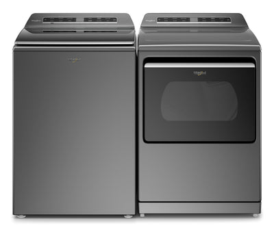 Whirlpool 6.1 Cu. Ft. Smart Washer and 7.4 Cu. Ft. Smart Electric Dryer - Chrome Shadow|Laveuse intelligente 6,1 pi³ et sécheuse électrique intelligente 7,4 pi³ Whirlpool - ombre chrome|WHTL712C