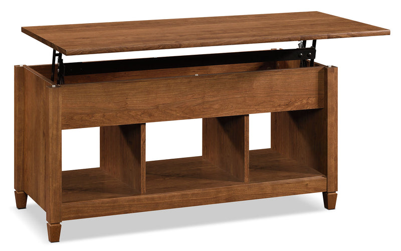 Edge Water Coffee Table with Lift Top – Auburn Cherry|Table à café Edge Water avec dessus relevable - cerisier rouge-brun