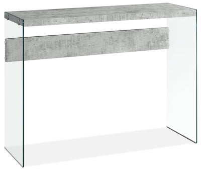 Yonah Sofa Table – Cement Grey - Modern style Sofa Table in Light Grey Glass
