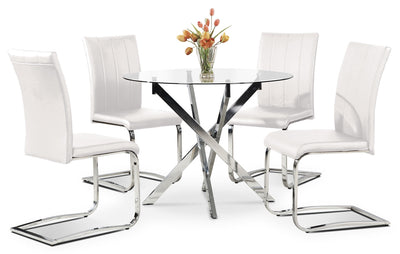 Tori 5-Piece Dining Package - White - Modern style Dining Room Set in White