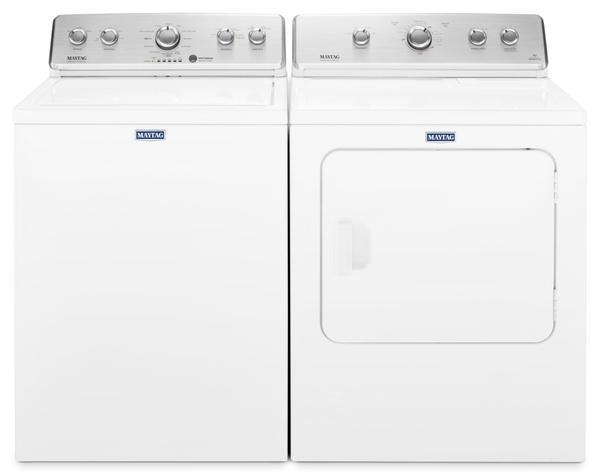 Maytag 4.4 Cu. Ft. Top-Load Washer and 7.0 Cu. Ft. Gas Dryer – White|Laveuse à chargement par le haut de 4,4 pi3 et sécheuse gaz de 7,0 pi3 de Maytag – blanches|MATL465G