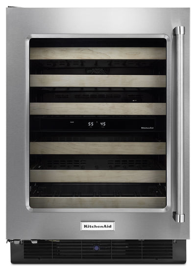"KitchenAid 24"" Left-Swing Wine Cellar with Wood Racks - KUWL204ESB