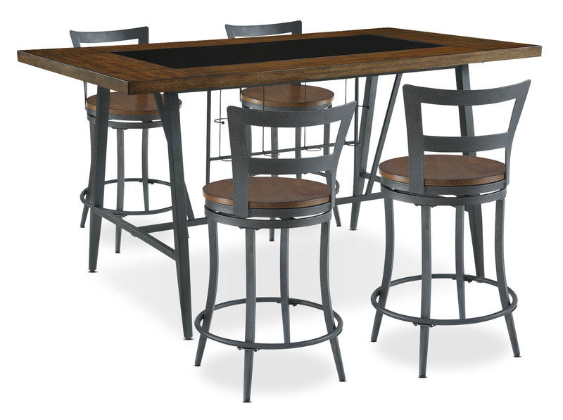 Nolita 5-Piece Counter-Height Dining Package - Industrial style Dining Room Set in Oak Rubberwood Solids and Metal