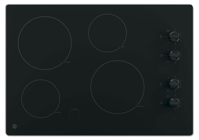 "GE 30"" Electric Cooktop with Built-In Knob-Control - Black - Electric Cooktop in Black"