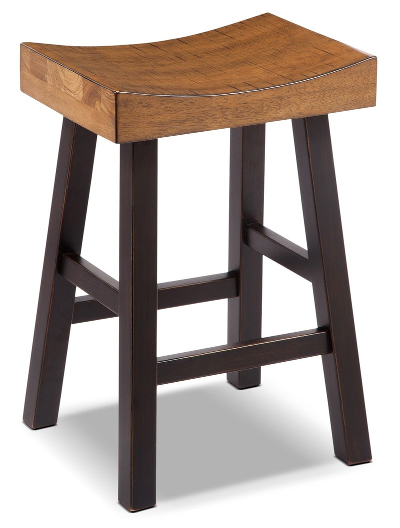 "Glosco 24"" Saddle-Seat Bar Stool - Rustic style Bar Stool in Two-Toned Hardwood Solids and Veneers"