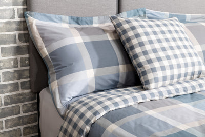 Tanner 3-Piece Twin Duvet Cover Set – Blue Plaid - Multi Coloured Cotton Duvet Set Duvet Set