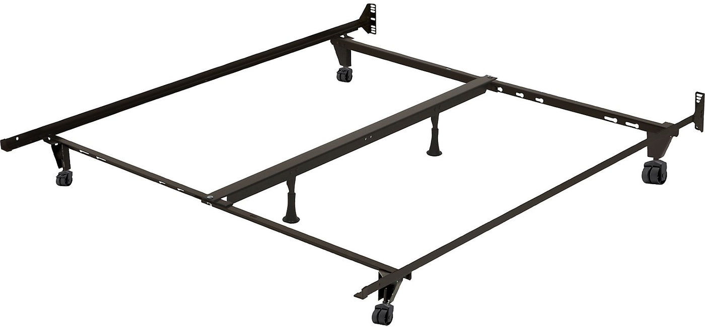 Picture of: Deluxe Full Queen King Metal Bed Frame With Caster Wheels The Brick