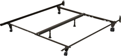 Deluxe Full/Queen/King Metal Bedframe with Castor Wheels - Black Bed Frame