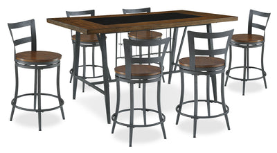 Nolita 7-Piece Counter-Height Dining Package - Industrial style Dining Room Set in Oak Rubberwood Solids and Metal