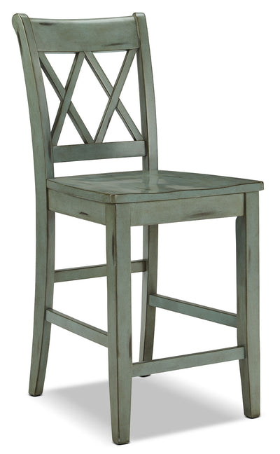 "Mestler 24"" Barstool – Blue-Green - Country style Bar Stool in Antique Blue Green Hardwood Solids"