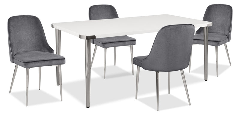 Manhattan 5-Piece Dining Package – Grey|Ensemble de salle à manger Manhattan 5 pièces - gris